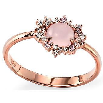 925 zilveren Rose goud vergulde en Rose Quartz Ring Trend