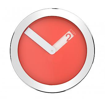 Istra London Stainless Steel Case Wall Clock - Red - 30cm