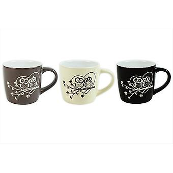 Coffee Mugs Wide Coupe Mug Set of 3 Embossed Owl Design Kitchen Home Tea Cups