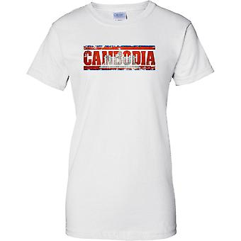 Cambodia Grunge Country Name Flag Effect - Ladies T Shirt