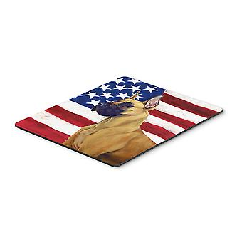 USA American Flag with Great Dane Mouse Pad, Hot Pad or Trivet