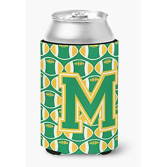 Letter M Football Green and Gold Can or Bottle Hugger