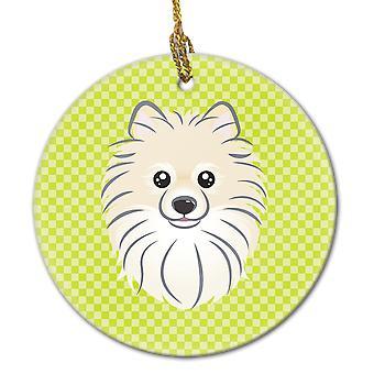 Checkerboard Lime Green Pomeranian Ceramic Ornament