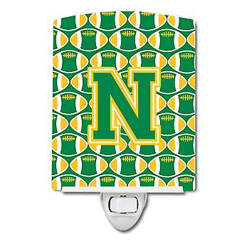 Letter N Football Green and Gold Ceramic Night Light