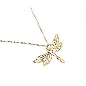 Gemshine - ladies - necklace - pendant - 925 Silver - gold plated - Dragonfly - 45 cm