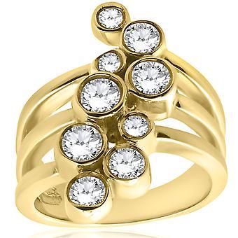 Żółte złoto 1ct prawej ręki pierścionek z brylantem