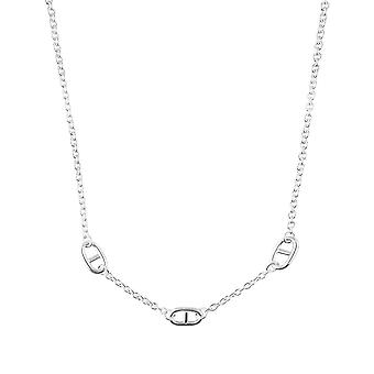 Fine Sterling Silver Womens Ladies Link Charms Solid Stylish Chain Necklace with Adjustable Length