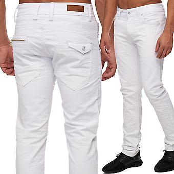 Men's Slim fit jeans pants white six-Pocket straight leg style zip