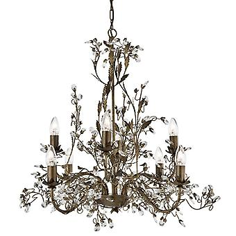 Almandite Brown Gold Eight Light Pendant With Crystals - Searchlight 2498-8br