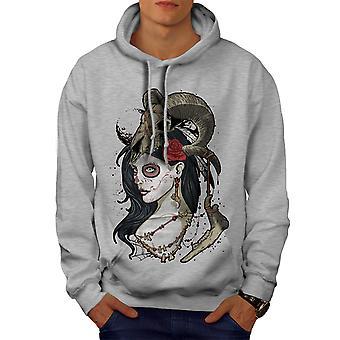 Animal Rose Skull Men GreyHoodie | Wellcoda