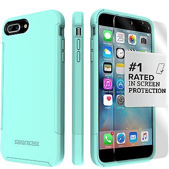 SaharaCase iPhone 8 Plus & 7 Plus Aqua Case, Inspire Protective Kit Bundle with ZeroDamage Tempered Glass