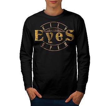 Houd de ogen T-shirt van de koker van de BlackLong van de mannen van Open Slogan | Wellcoda