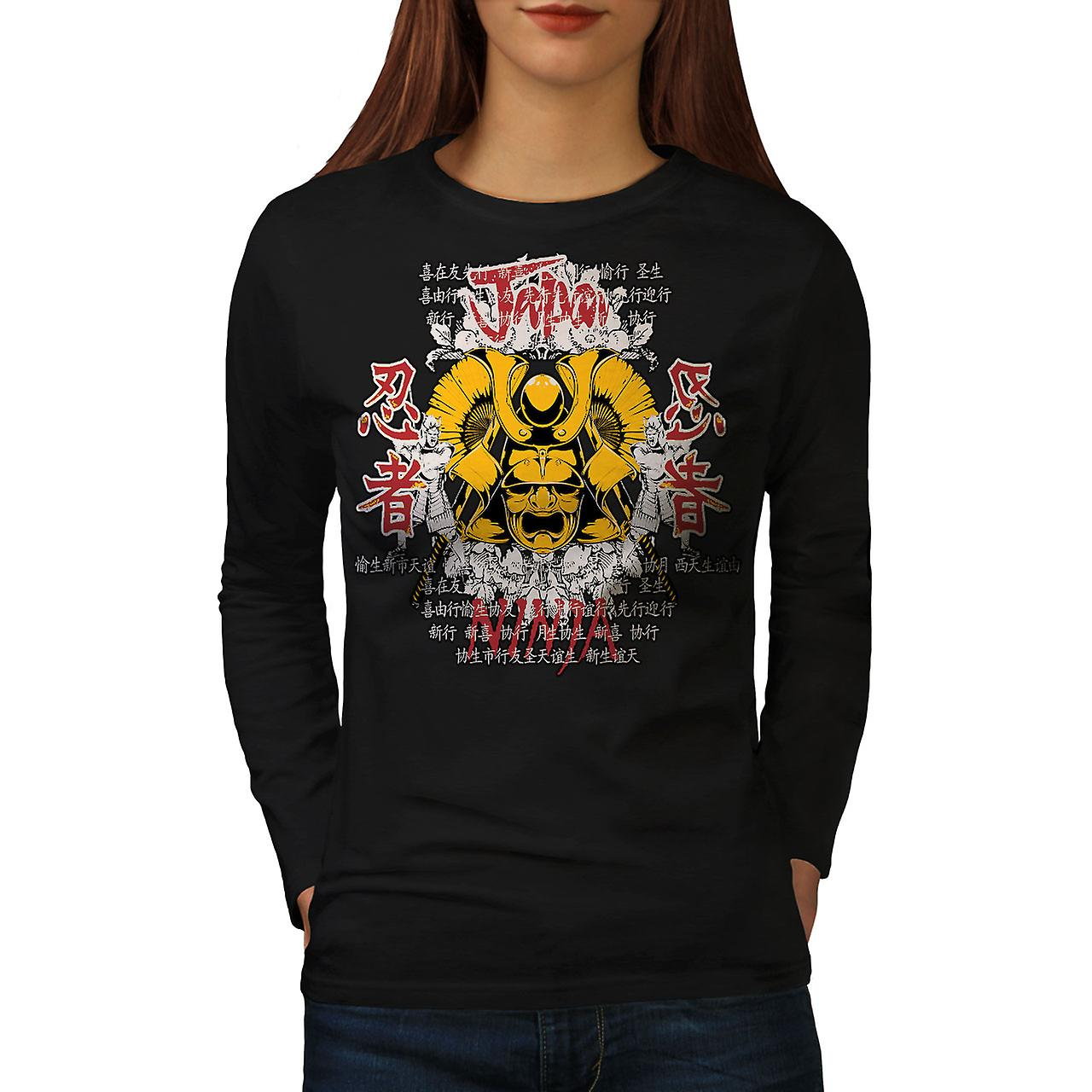 Mujeres camiseta de manga BlackLong de fantasía oriental Ninja | Wellcoda