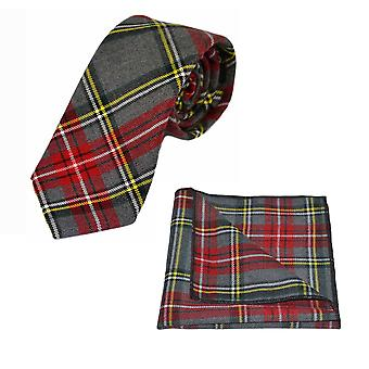 Traditional Light Grey & Red Tartan Tie & Pocket Square Set, Check, Plaid