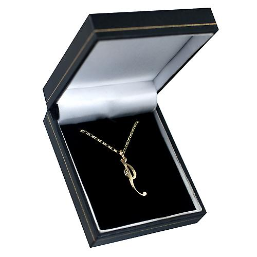 9ct Gold 27x7mm plain Initial I Pendant with a belcher Chain 16 inches Only Suitable for Children