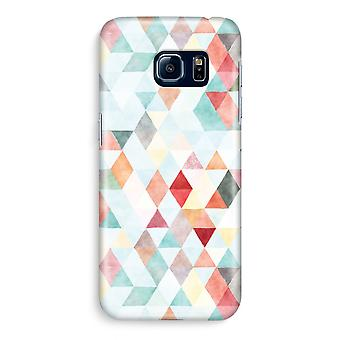 Samsung S6 Edge Full Print Case - Coloured triangles pastel