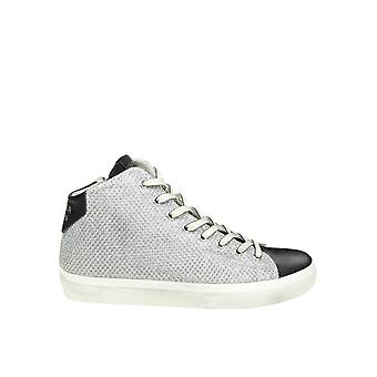 Leather Crown women's W13315 silver fabric Hi Top sneakers