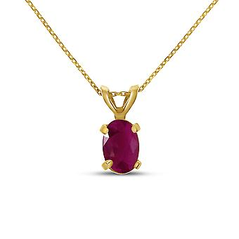 10k Yellow Gold Oval Ruby Pendant with 16