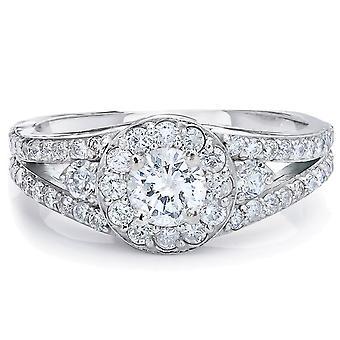 3/4ct Halo Diamond Engagement Ring 14K White gold Vintage Split Shank