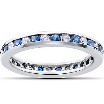 1CT Blue Sapphire & Diamond Channel Set Eternity Wedding Ring 14K White Gold