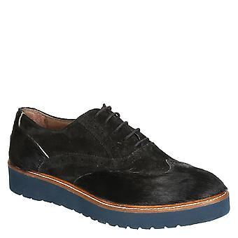 Women's black pony leather lace-ups wingtip shoes