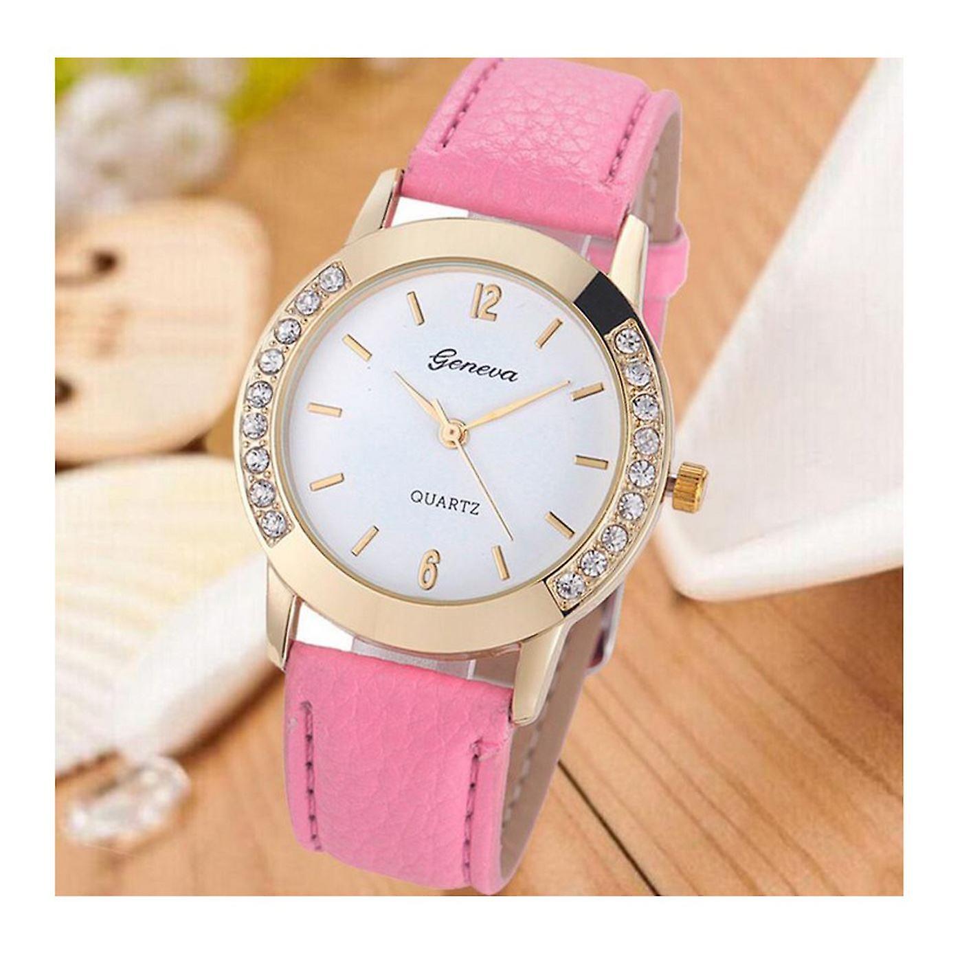Gold Geneva Pink Watch Ladies Girls Fashion Watches