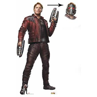 Star-Lord Peter Quill Avengers Infinity kriget Lifesize kartong släppandet med mask