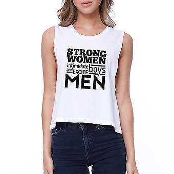 Strong Women Womens White Cute Workout Tank Top Gym Crop Top Gifts