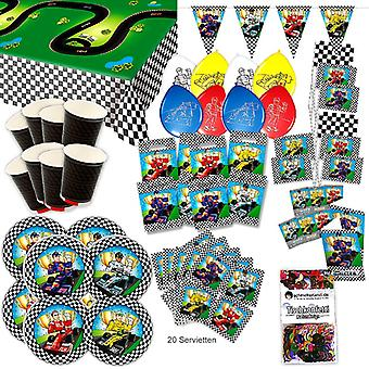 Go kart formula of one party set XL 79-teilig for 8 guests birthday decoration party package