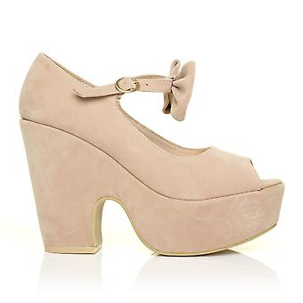 BOWIE Nude Beige Faux Suede Cut Out Platform Peep Toe Wedges with Ankle Strap Bow