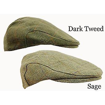 Derby Tweed Flat Cap Available in Dark Tweed and Sage