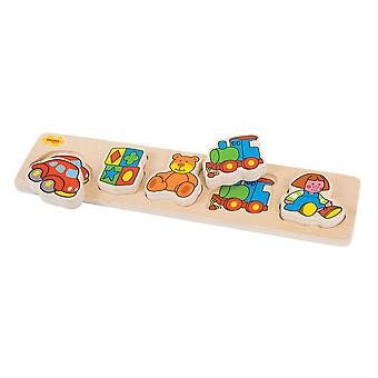 Bigjigs Toys Wooden Chunky Lift and Match Toys Jigsaw Puzzle
