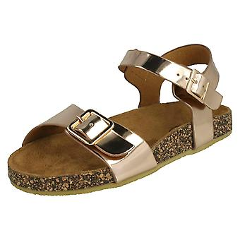 Girls Spot On Flat Buckle Strap Sandals - Rose Gold Synthetic - UK Size 11 - EU Size - EU Size 29 - US Size 12