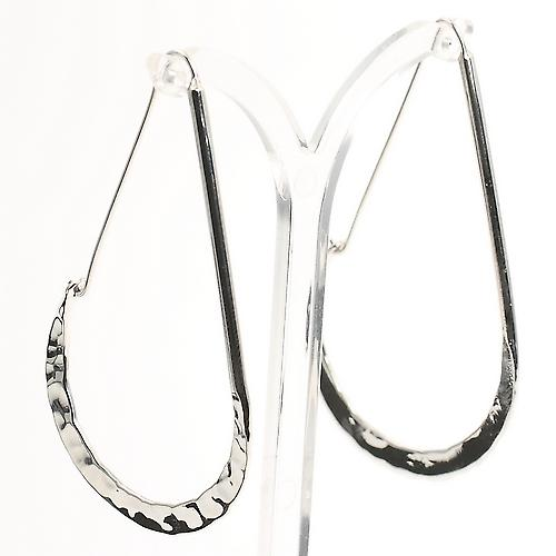 Hammered Hoop Silver Earrings
