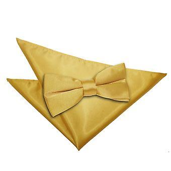 Gold Plain Satin Bow Tie & Pocket Square Set