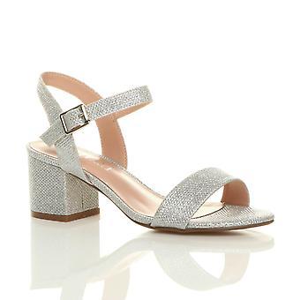 Damskie Ajvani połowie niski blok pięty peep toe kostki pasek strappy stroną sandały