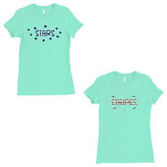 Stars And Stripes BFF Matching Shirts Womens Mint Friendaversary