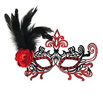 Metal Domino mask with feather flower black red accessory Carnival