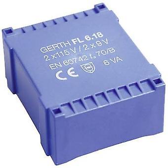 PCB mount transformer 2 x 115 V 2 x 12 V AC 6 VA 250 mA FL6.24 Gerth