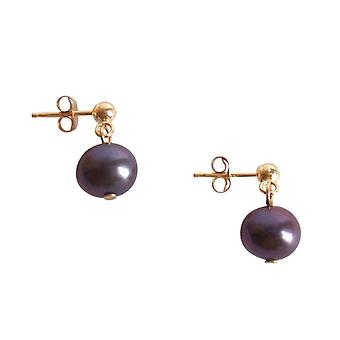 Gemshine - ladies - earrings - gold plated 7 mm - Pearl - Tahiti - grey-