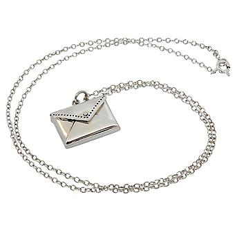 Lady chain necklace solid 925 Silver letter envelope envelope silver