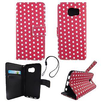 Handyhülle Tasche für Handy Samsung Galaxy S6 Polka Dot Pink Weiss