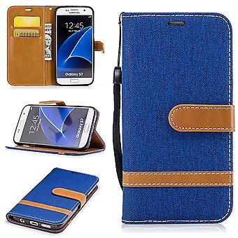 Tasche für Samsung Galaxy S7 Jeans Cover Handy Schutz Hülle Case Blau