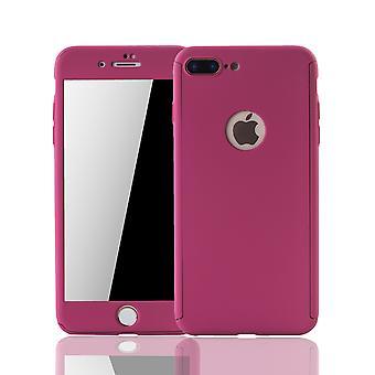 Apple iPhone 8 plus protección de tanque móvil caso cubierta completa de protección caso de cristal rosa