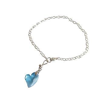 Hjerte armbånd blå 925 sølv hjerte vedhæng RETO med krystal element