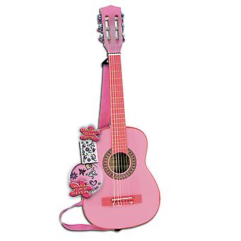 Bontempi iGirl Wooden Guitar 6 Strings With Shoulder Strap and Stickers Pink
