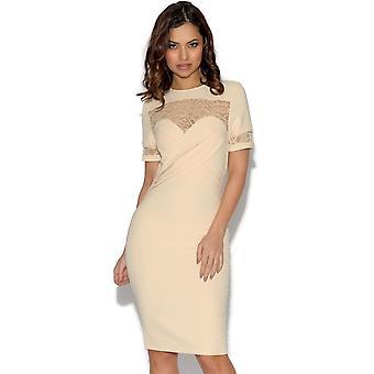 Papirdukker Pleated foran blonder detalj kjole