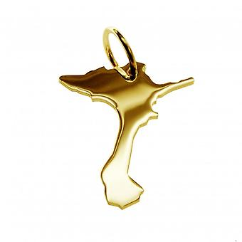 Trailer map pendants in gold yellow-gold in the form of Formentera