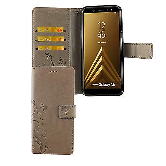 Samsung Galaxy A6 2018 Handy-Hülle Schutz-Tasche Cover Flip-Case Kartenfach Grau