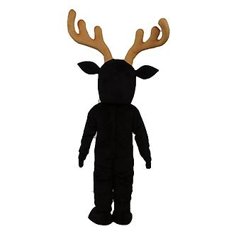 mascot SPOTSOUND reindeer black and white, with large yellow wood